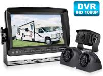 Fookoo Ⅱ HD Backup Camera System HD Backup Camera System Kit,1080P 7'' DVR Split Screen Monitor+IP69 Waterproof Rear View Camera for Truck/Trailer/Box/RV/Semi-Trailer/Tractor/ 5th Wheel/Bus (FHD3)