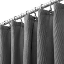 """mDesign Long Soft 100% Microfiber Polyester Fabric Shower Curtain - Decorative Embossed Pattern Texture - for Bathroom Showers and Bathtubs - Easy Care, Machine Washable - 72"""" x 84"""" - Charcoal Gray"""