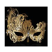 FaceWood Masquerade Mask for Women Ultralight Gorgeous Gold & Silver Shiny Metal Rhinestone Mask.