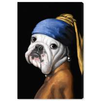 """The Oliver Gal Artist Co. LB17390 Dog with The Pearl Earring' Canvas Art, 16"""" x 24"""""""