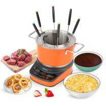 GREECHO Digital Electric Fondue Set — 3.2 Quart Fondue Pot of Stainless Steel Cookware With Temperature Control, 1200W Fondue Cheese for Electric Countertop, Melting Chocolate Maker, Vibrant Orange