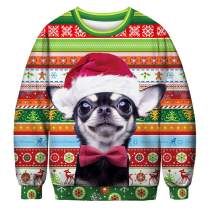 JomeDesign Unisex Ugly Christmas Sweater 3D Digital Printed Graphic Sweatshirt Pullover