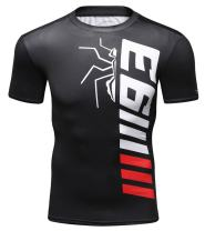 Red Plume Men's Compression Shirt Short Sleeve Tops Base Layer Fitness T-Shirt