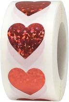 Red Holographic Sparkle Heart Stickers Valentine's Day Crafting Scrapbooking 0.75 Inch 500 Adhesive Stickers