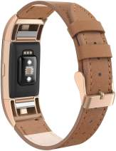 """SWEES Bands Compatible for Fitbit Charge 2 Leather Small (5.6"""" - 7.5""""), Genuine Leather Replacement Wristband Metal Connectors Women, Black, Beige, Brown, Grey, Rose Gold, Blue"""