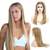 Ombre Balayage Lace Front Human Hair Wig Brown to Golden Brown with Beige Blonde Highlights Straight Long Remy Hair Glueless Lace Frontal Wig Pre Plucked for White Women 24 Inch