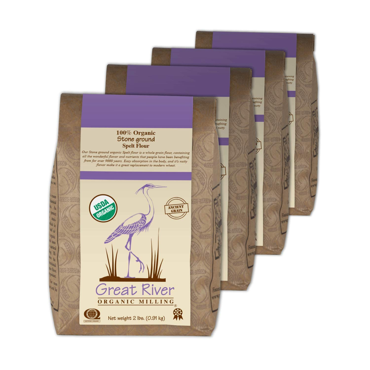 Great River Organic Milling, Specialty Flour, Spelt Flour, Stone Ground, Organic, 2-Pounds (Pack of 4)