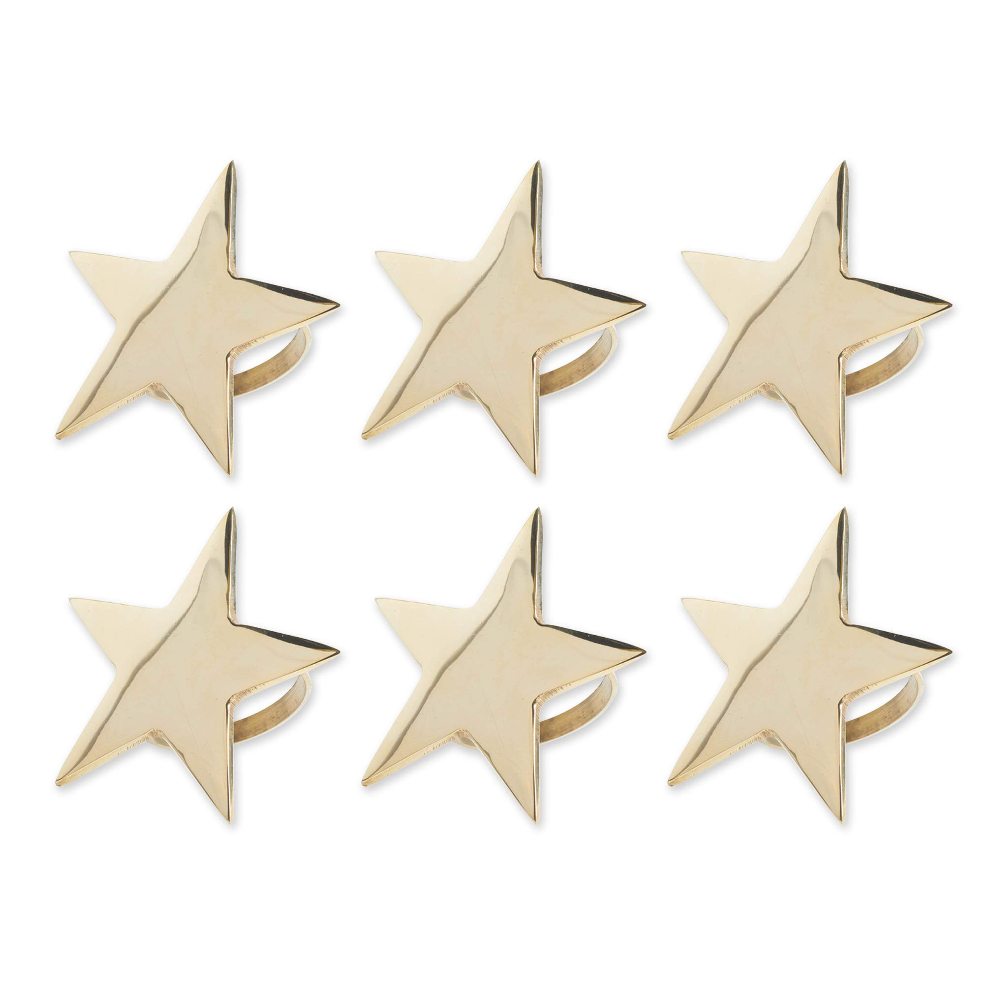 DII Modern Chic Napkin Rings for Christmas, Holidays, 4th of July, Dinner Parties, Weddings Receptions, or Everyday Use, Set Your Table With Style - Gold Star, Set of 6