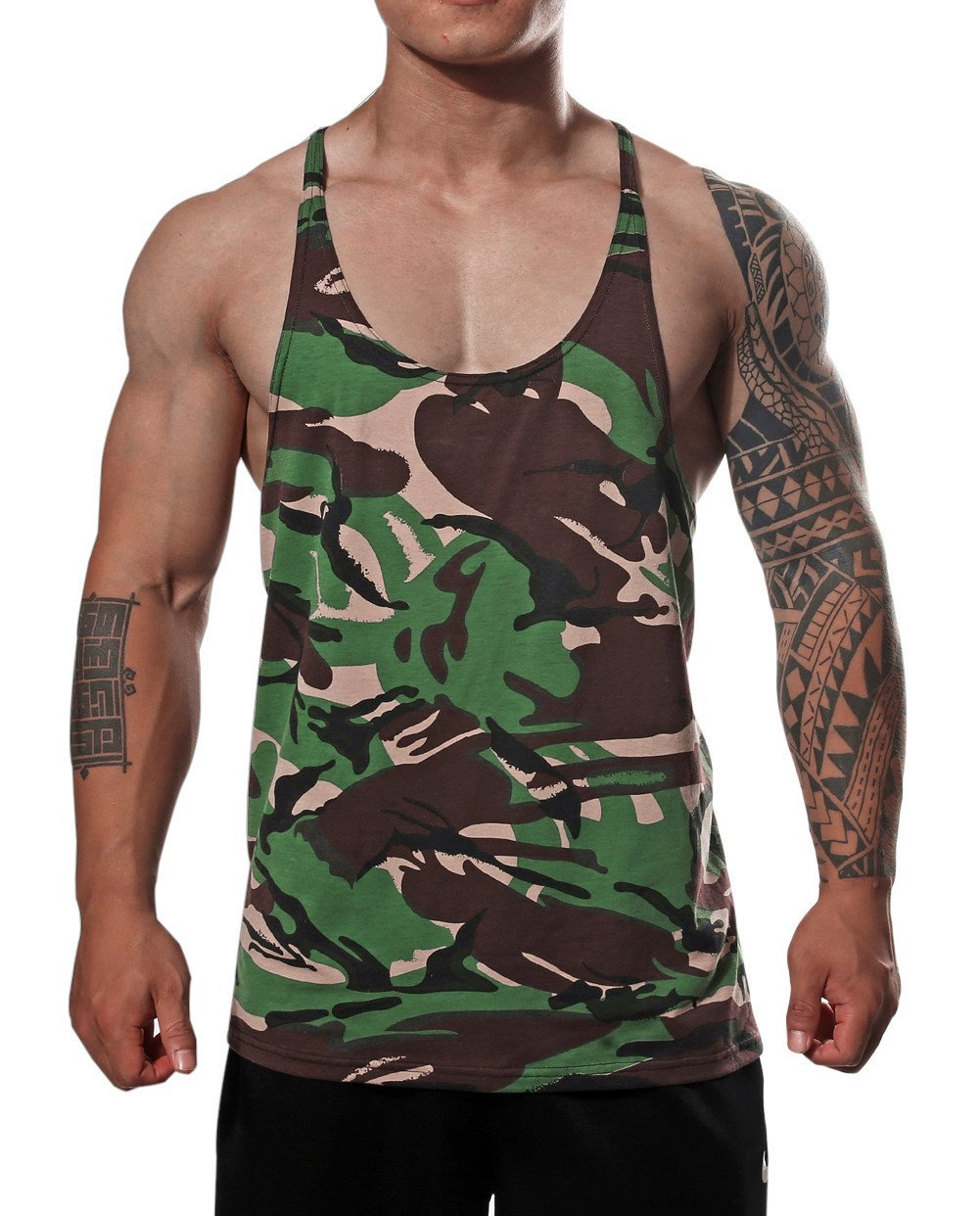 Mens Camouflage Gym Muscle Tank Top Bodybuilding Sports Fitness Lightweight Vest