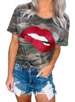 Aleumdr Women Fashion Summer T-Shirts Casual Crewneck Short Sleeve Graphic Tops Tee