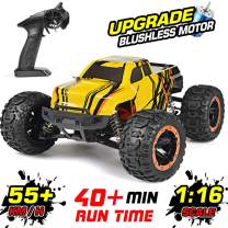 NUOKE RC Car Remote Control Truck 1:16 Scale Brushless 55km/h High Speed 4WD 2.4Ghz Waterproof Offroad Gift for Boys Car for Kids and Adults