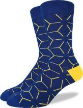 Good Luck Sock Men's Blue Matrix Geometric Crew Socks - Blue, Adult Shoe Size 7-12