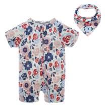BIG ELEPHANT 1 Piece Unisex Baby Summer Pattern Short Sleeve Zipper Romper with Bibs Gifts