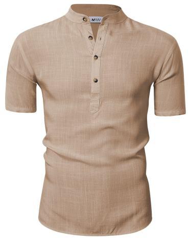 KUULEE Men's Casual Henley Neck Short Sleeve Daily Look Linen Shirts Solid Beach Shirt