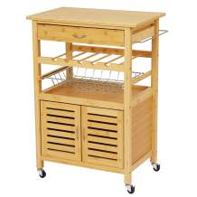"""VIAGDO Kitchen Island on Wheels, Bamboo Kitchen Carts with Storage and Drawer, Island Table for Kitchen with Wine Bottle Rack, Basket, 34.60"""" x 24.4"""" x 15.7"""""""