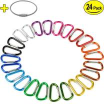 """2"""" Aluminum D Ring Carabiners Clip D Shape Spring Loaded Gate Small Keychain Carabiner Clip Set for Outdoor Camping Mini Lock Snap Hooks Spring Link Key Chain Durable Improved 24 PCS"""