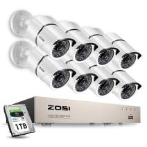 ZOSI 8CH 1080P Security Camera System Outdoor with 1TB Hard Drive,H.265+ 8Channel 1080P CCTV Recorder 8pcs HD 1920TVL Home Surveillance Cameras with 120ft Night Vision Easy Remote Access Motion Alert