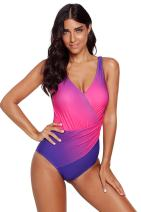Swimsuits for Women Vintage Padded Push Up One Piece Swimwear Tummy Control Monokini Bathing Suits