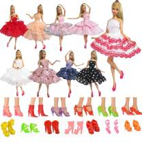 JHTY Fashion Dress 5pcs + 5 Pairs of Shoes for 11.5inch Doll Clothes (Random)