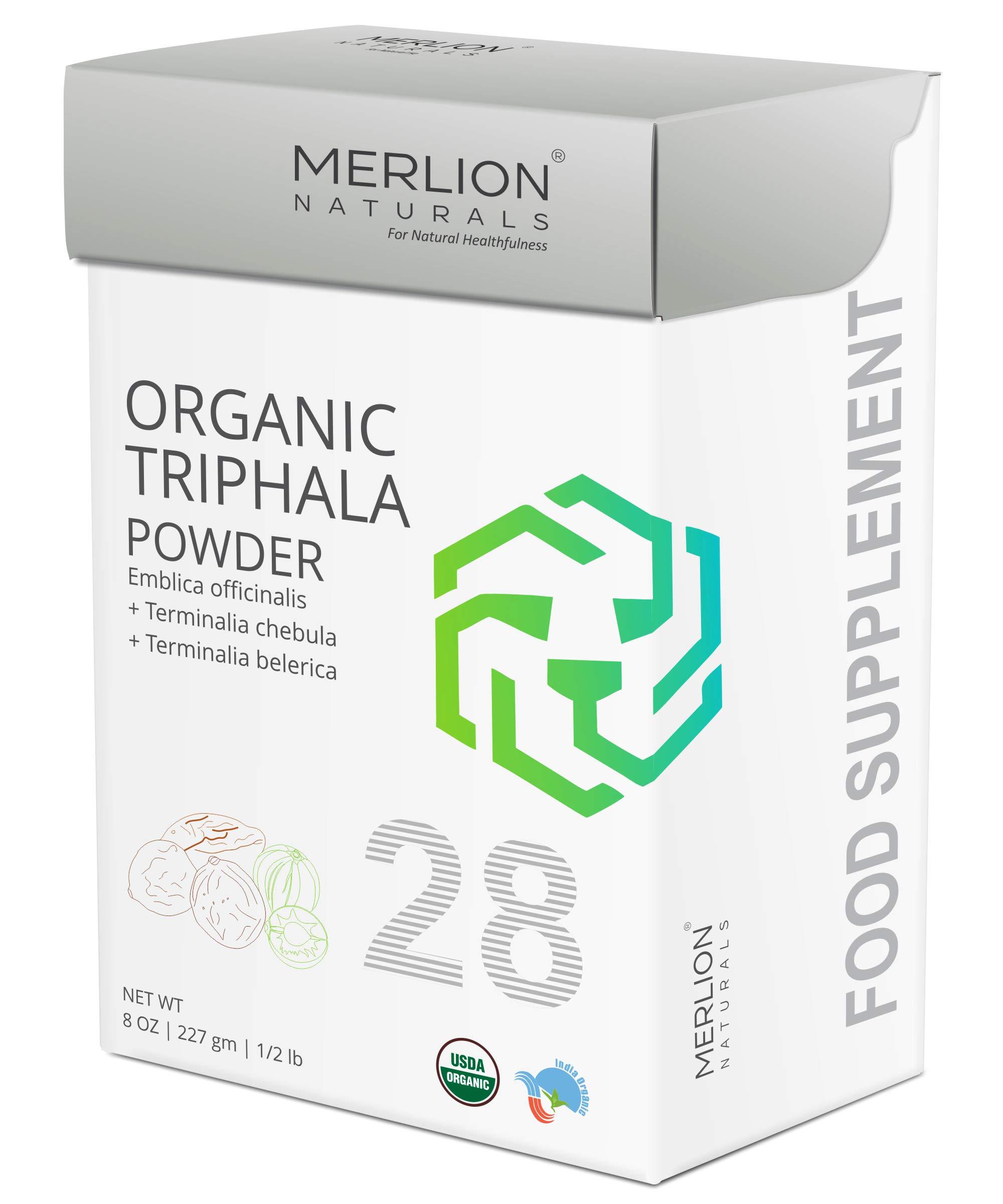 Organic Triphala Powder by Merlion Naturals   Amla, Haritaki and Baheda   227gm/ 8OZ/ 1/2lb   USDA NOP Certified 100% Organic
