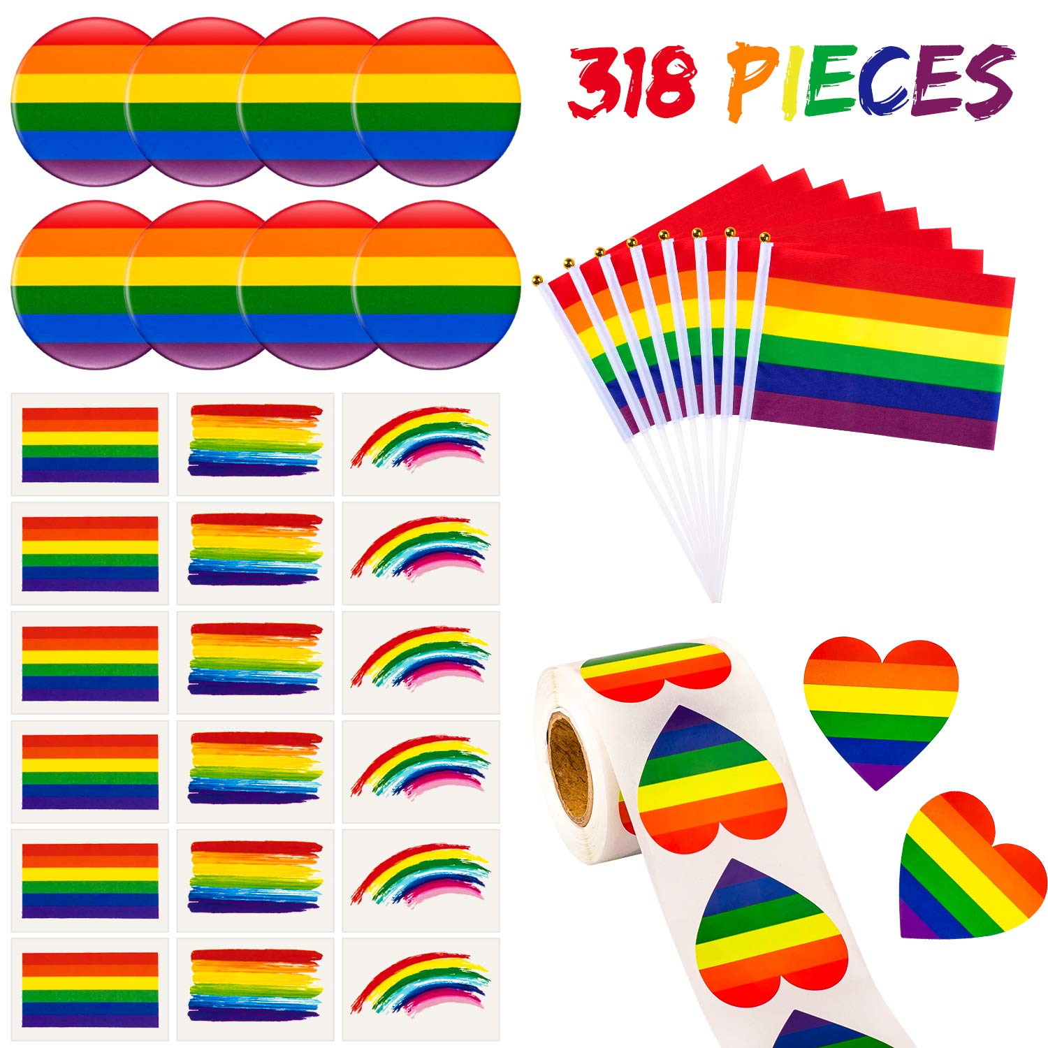 Whaline 318 PCS Rainbow Gay Pride Set,30 Small LGBT Handheld Stick Flags,30 Gay Pride Tattoos,1 Roll of Heart Rainbow Stickers and 8 Rainbow Button Pins, for Gay Pride Parade Carnival Party Decoration