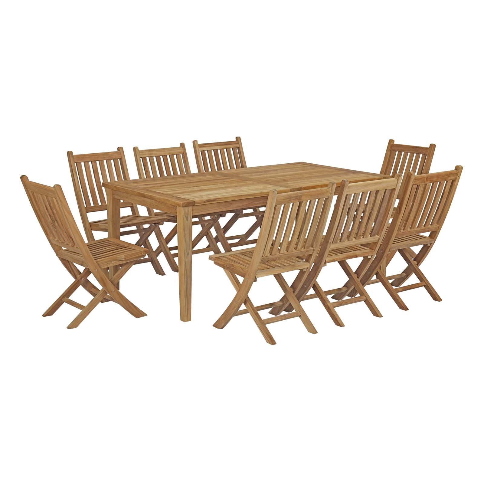 Modway EEI-3204-NAT-SET Marina Premium Grade A Teak Wood Outdoor Patio Dining Furniture Set, 9 Piece, Natural