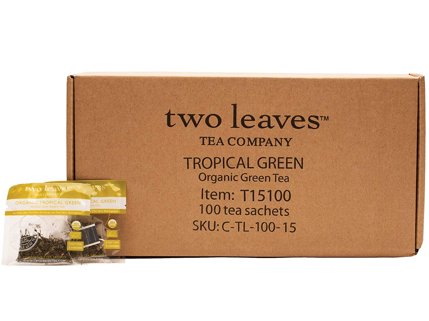 Two Leaves and a Bud Organic Tropical Green Tea Bags (100 Count) Organic Whole Leaf Tea in Pyramid Sachet Bags, Delicious Hot or Iced with Milk, Sugar or Honey or Plain