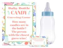 """Baby Shower Bottle Game Candy Guessing Game with 11"""" Baby Bottle Bank and 30 Cards (Blue)"""