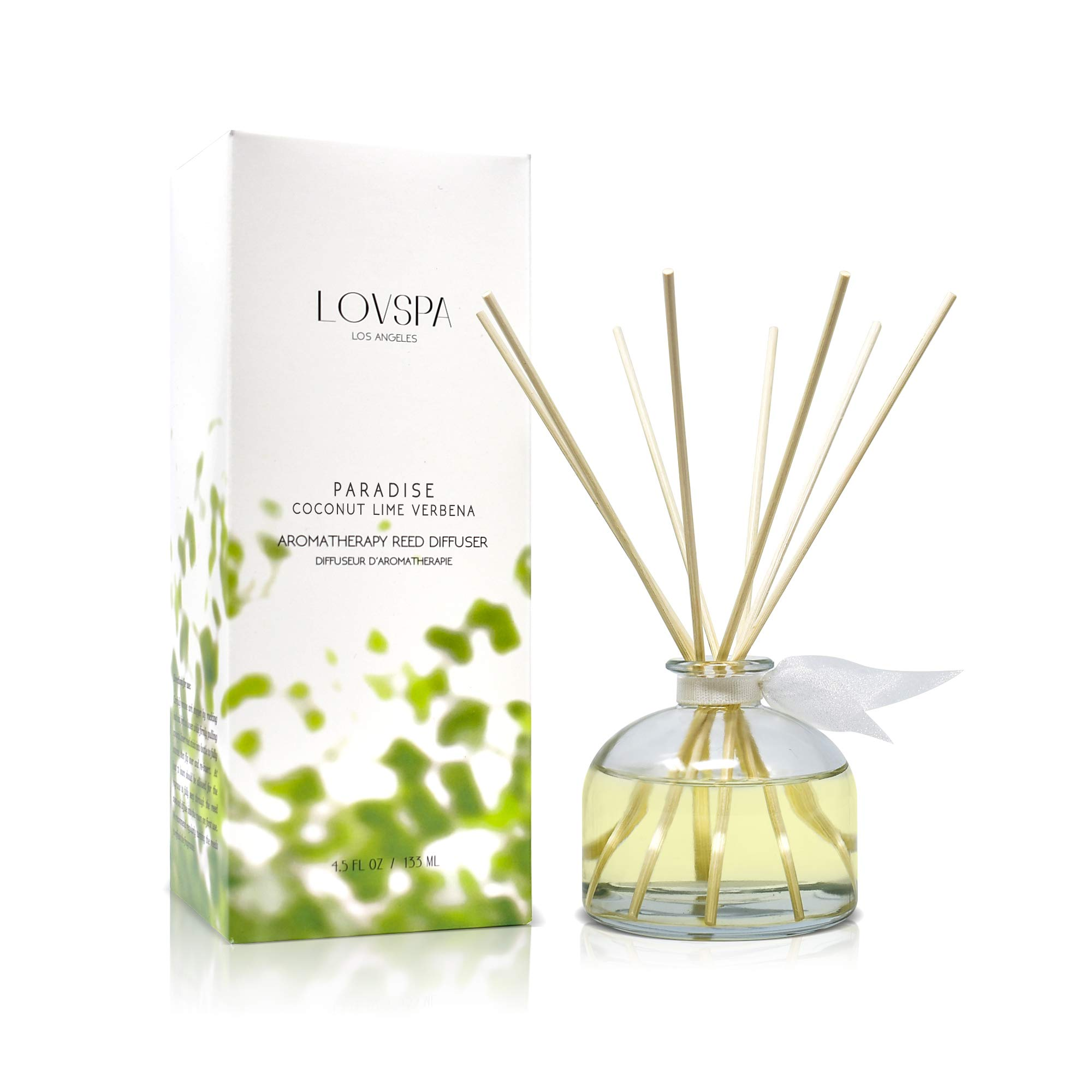 LOVSPA Coconut Lime Verbena Scented Reed Sticks Diffuser Set   Paradise Fragrances   Tropical Blend of Lemon Verbena, Fresh Limes & Coconut   Made in The USA   Great Gift Idea