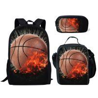 Coloranimal 3D Basketball Pattern School Bookbag+Lunch Purse+Pencil Cases