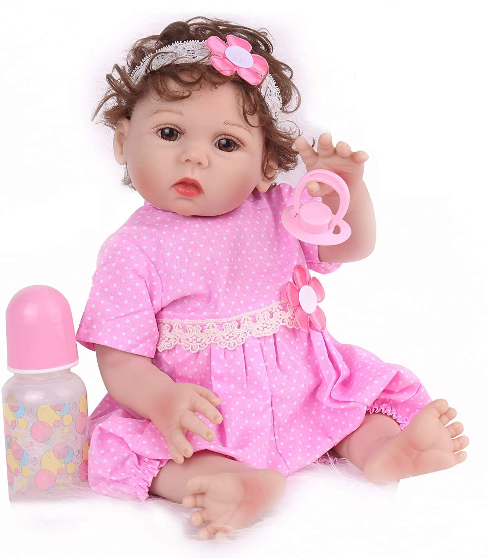 CHAREX Reborn Baby Dolls Full Body Silicone, 18inch Realistic Reborn Baby Dolls Girls, Lifelike Washable Bath Baby Dolls for Children 3+