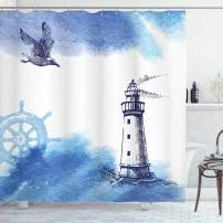 "Ambesonne Lighthouse Shower Curtain, Nostalgic Watercolors with Gull Anchor Lighthouse Nautical Theme, Cloth Fabric Bathroom Decor Set with Hooks, 70"" Long, Navy Blue"