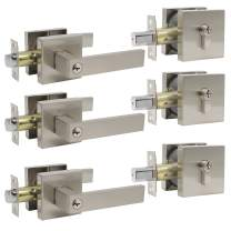 Probrico Satin Nickel Square Entry Levers Locksets and Double Cylinder Deadbolts Combination Set, Heavy Duty Front Door Office Entrance Levers, 3 Pack Keyed Alike(All Same Keys)