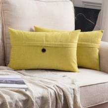 MIULEE Set of 2 Decorative Linen Throw Pillow Covers Cushion Case Button Vintage Farmhouse Pillowcase for Couch Sofa Bed 12 x 20 Inch 30 x 50 cm Chartreuse