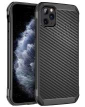 BENTOBEN iPhone 11 Pro Phone Case, Carbon Fiber Design Dual Layer Shock Absorbing Hybrid Hard PC Back Soft Bumper Protective Non Slip Grip Durable Sturdy Manly Cover for iPhone11 Pro 5.8 2019, Black