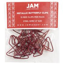 JAM PAPER Colorful Butterfly Clips - Red Paper Clamps - 15/Pack