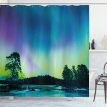 "Ambesonne Aurora Borealis Shower Curtain, Sky Over Lake Surrounded Forest Woods Hemisphere Print, Cloth Fabric Bathroom Decor Set with Hooks, 75"" Long, Violet Green"
