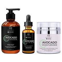 Radha Beauty Avocado Complete Facial Care Kit - 3-in-1 Anti-Aging Set with Cleanser, Serum, and Moisturizer for Wrinkles, and Dark Spots. Day & Night Brightening Skincare Gift Set