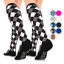 GO2 Compression Socks for Men Women Nurses Runners 16-22 mmHG (medium) - Medical Stocking Maternity Travel - Best Performance Recovery Circulation Stamina - (blackargyle, Large Two)