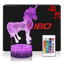 Night Light for Kids New Version 3D Unicorn Toy Lamp, Remote Control, Dimmable, Battery or USB Powered, 7 Colors Change Christmas Gift for Boys Girls Baby