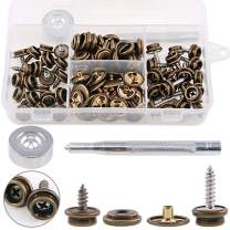 """Hilitchi 120Pcs Bronze [2-Sizes] Screw-in Snap Stud Fastener Screw Snaps 3/8"""" Socket with Stainless Steel Philips Screws w/Setting Tool Boat Canvas Snaps Set for Boat Cover Canvas Furniture Fabric"""