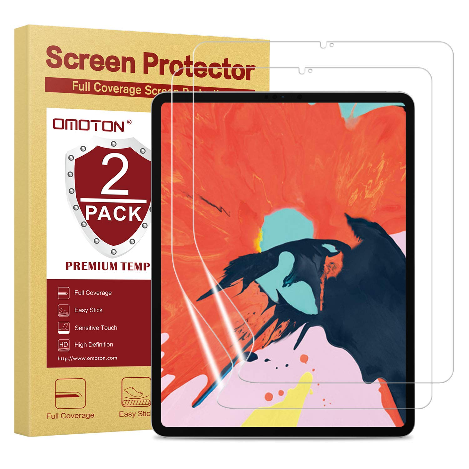 OMOTON Screen Protector for iPad Pro 12.9 (2018 Release) - TPU Film Screen Protector for 3rd Generation iPad Pro 12.9 inch [2 Pack], Ultra Thin/Original Touch Sensitivity
