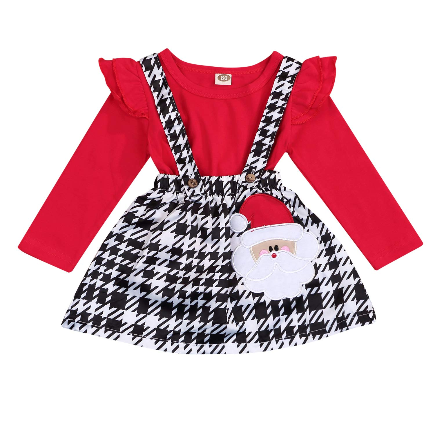Christmas Infant Toddler Baby Girls Outfits Snowman Santa Claus Print Ruffle T-Shirt Strap Dress Sets (red Sets, 6-12 Months)