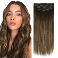 Sunny Hair Extensions Clip in Human Hair 16 Inch Brown Clip in Hair Extensions Human Hair Dark Brown Mix Caramel Blonde Hair Extensions Clip in Double Weft 7pcs 120g