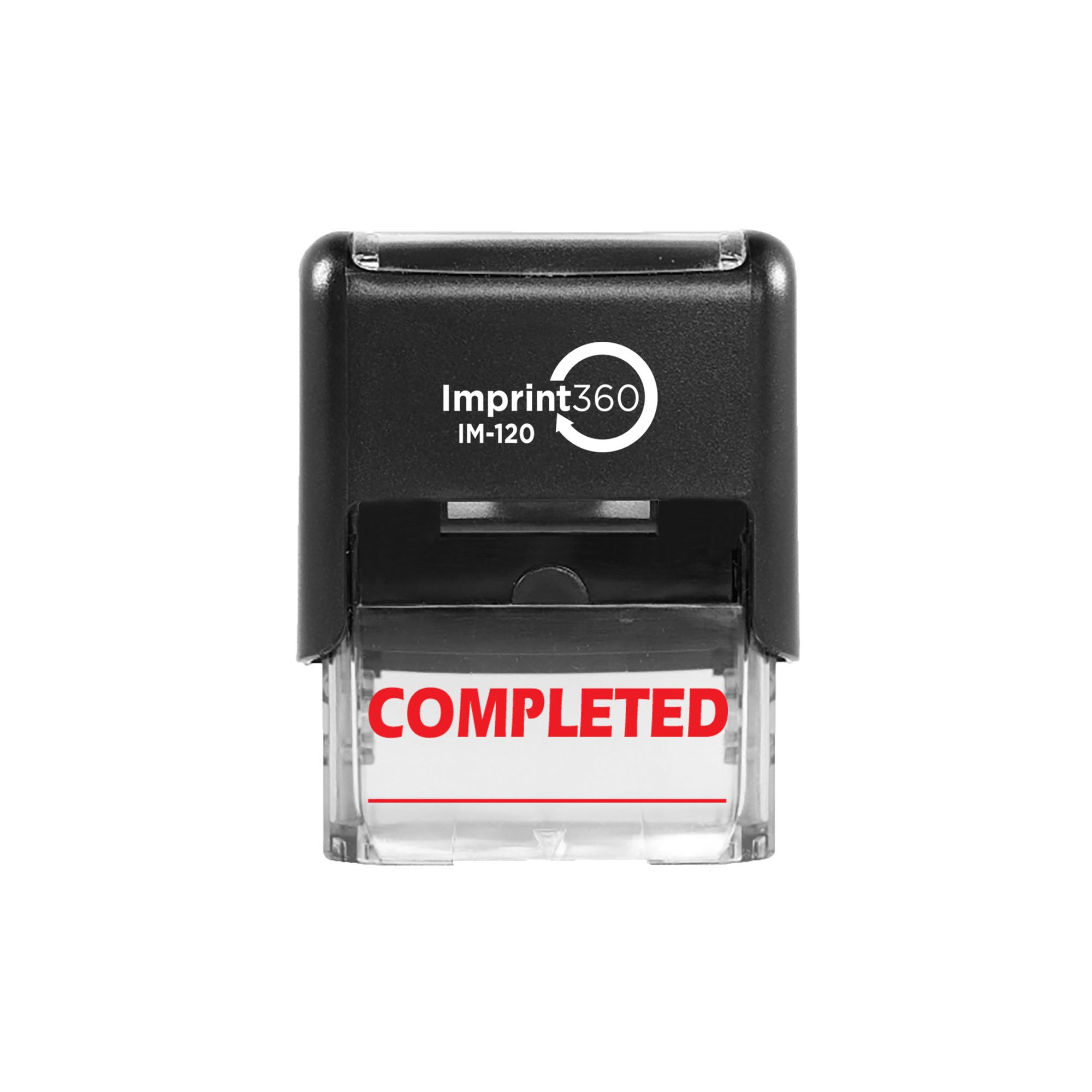 """Imprint 360 AS-IMP1037 - Completed w/Signature Line, Heavy Duty Commerical Quality Self-Inking Rubber Stamp, Red Ink, 9/16"""" x 1-1/2"""" Impression Size, Laser Engraved for Clean, Precise Imprints"""