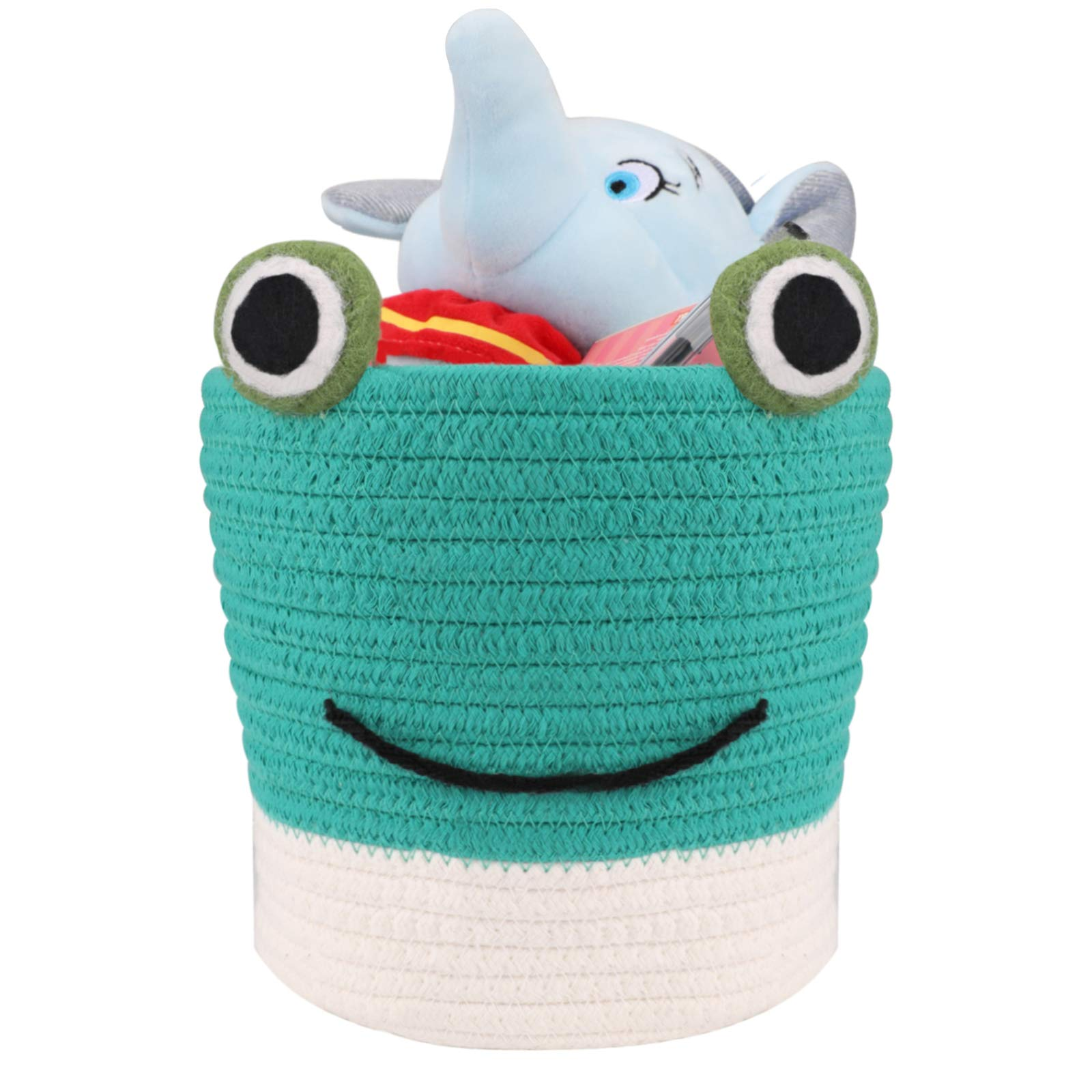 Cute Baby Gift Basket Small Cotton Rope Basket | LONTAN Frog Design Woven Basket Collapsible Baby Room Basket Cute Storage Bin for Candy, Pen, Toys, Green, 8''X7''