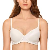 DOBREVA Women's Lace Lightly Padded Full Coverage Underwire T Shirt Bra