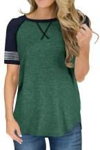 FEKOAFE Womens Tops Shirts Crewneck Short Sleeve Blouses