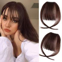GongXiu Clip in Bangs Real Human Hair Extensions Dark Red Brown Wispy Air Bangs Hair Clip in Fringe Straight Bangs with Temples for Women