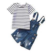 WISWELL Toddler Baby Girl Denim Shorts Set Striped Short Sleeve Shirt + Suspender Denim Overalls Outfits